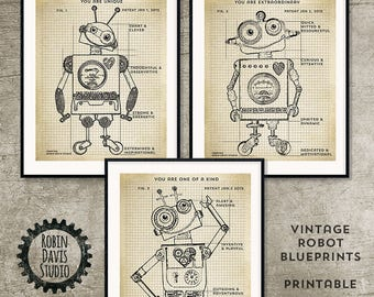 Robot Blueprint Printable 8x10, Robot Patent Printable, Vintage Robot Printable, Toy Robot blueprints, Encouraging words, Robin Davis Studio