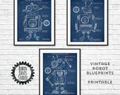 Blue Robot Art, Robot Boys Room, Robot Blueprints, Toy Robot blueprints, Robot Nursery Digital downloads, Retro Robot Room, RobinDavisStudio