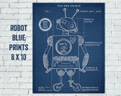 Retro Robot Blueprint, Robot Technical drawing, Robot Boys room, Encouragement for kids, robot blueprint printable, Robin Davis Studio