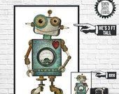 Giant Robot Wall Decor - Large Robot Print, Robot Poster, 24 x 36 Robot, Robot Boys Room, Robot Playroom, Robotics Decor, Robin Davis Studio
