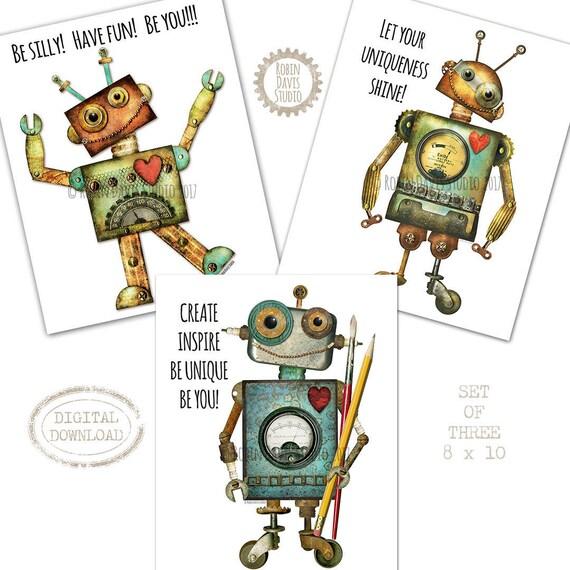 Robot wall decor Set Robots for the classroom Robot Party | Etsy