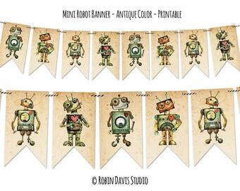 Robot Banner, Robot Party, Robot Printable, Robot Birthday svg, Robot Clipart, Robot theme room, Robot svg, Robot Room, Robin Davis Studio