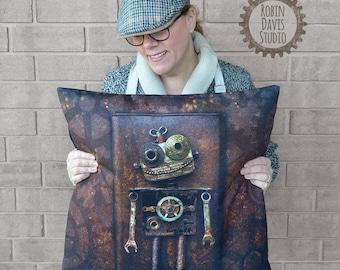 Steampunk Pillow, Robot Pillow Cover, Retro Robot Pillow, Robot Decor, Rustic pillow cover, techie decor, robotics decor, Robin Davis Studio