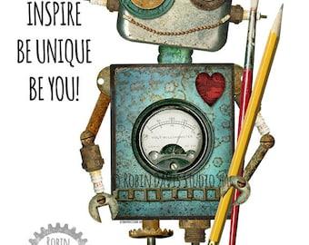 Robot Printable, Robotics robot, Cool Robot, Create and Inspire robot, Classroom robot, Robot boys room, Robot nursery, Robin Davis Studio
