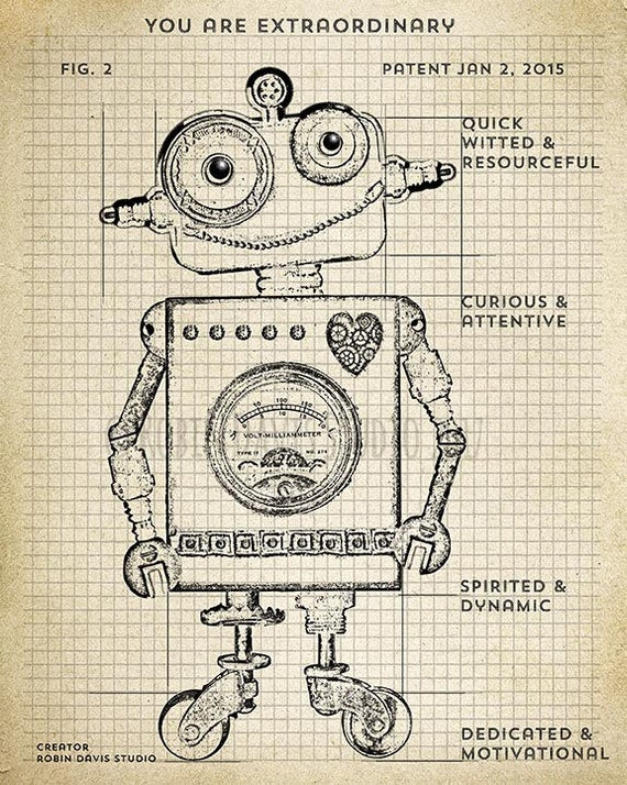 Retro Robot Blueprint, Robot Technical drawing, Blueprint robotics,  Encouragement for kids, Blueprint robot printable, Robin Davis Studio