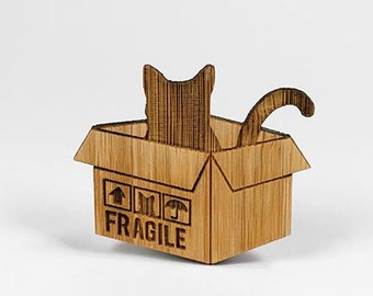 Cat in a box - Eco bamboo brooch