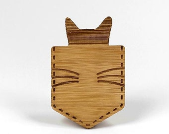 Cat in a pocket - Eco bamboo brooch