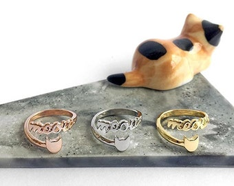 Cat and meow adjustable wrap ring