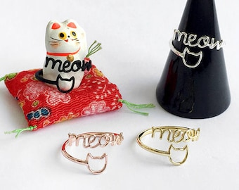 Cat and meow adjustable wrap ring (improved version!)
