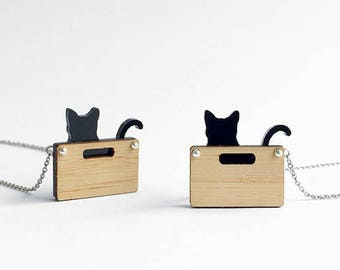 Cat in a box necklace - handmade from eco-friendly bamboo wood