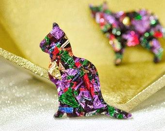 Kookie cat brooch - premium kaleidoscope
