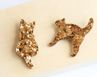 Kookie cat brooch - premium chunky bronze