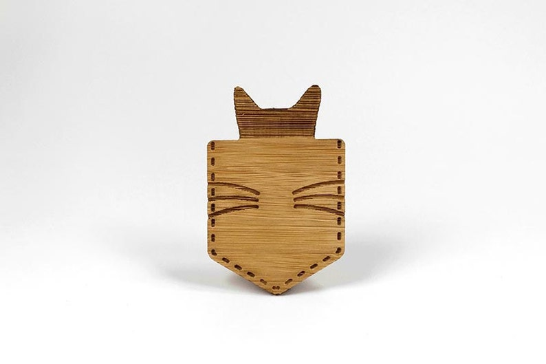 Cat in a pocket  Eco bamboo brooch image 0