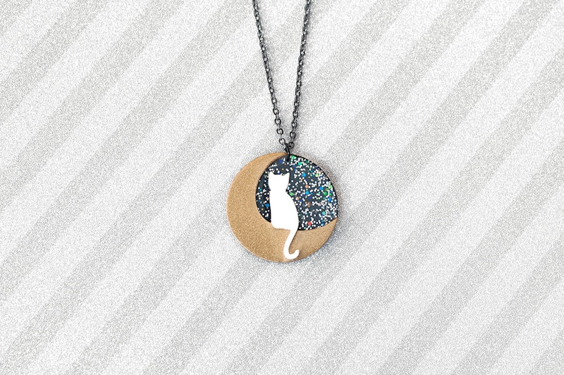 White cat on gold moon with glitter skies Necklace  handmade image 0