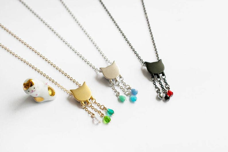 Raining cat necklace  Matt cat face with glass beads necklace image 0