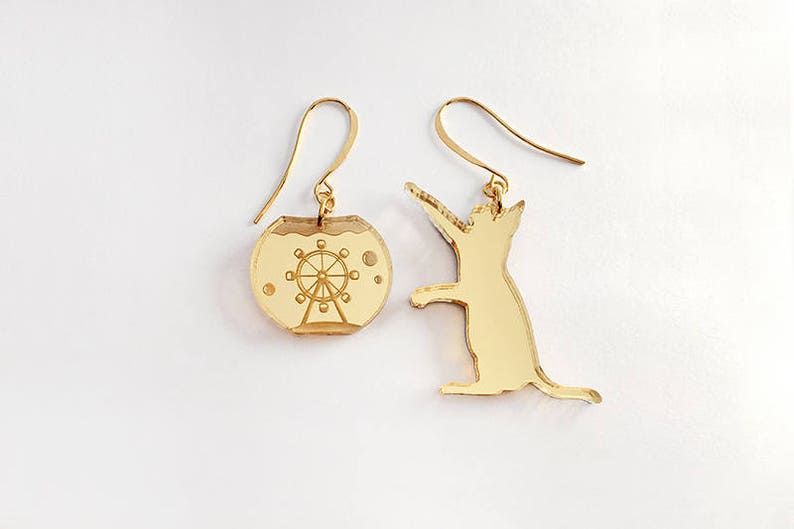 Catching Flyer earrings  gold and silver mirror acrylic laser image 0
