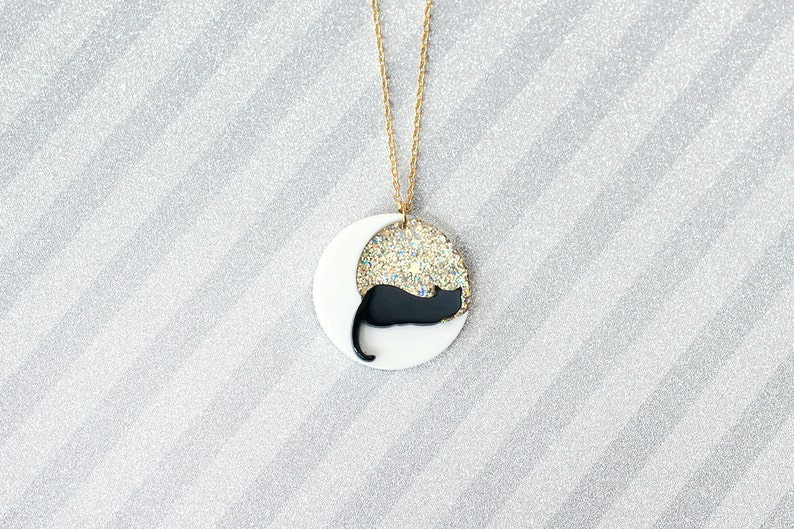 Black cat on white moon gold glitter skies Necklace  handmade image 0