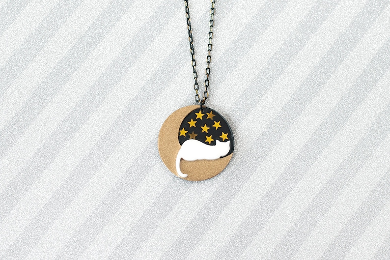 White cat on gold moon starry starry night Necklace  handmade image 0