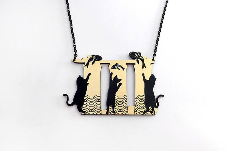 Meowrina Bay Cats necklace  gold and silver acrylic laser cut image 0