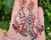 Butterfly Cloisonne earrings in Art Nouveau style,  Butterfly jewellery, Butterfly charm gift, Nature statement earrings, Wings earrings