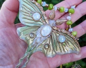 Luna Moth Moonstone Art Nouveau necklace, Statement polymer clay  butterfly necklace, Butterfly jewellery, Insect jewellery,Nature jewellery