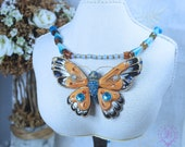 Butterfly Necklace Beaded Necklace with Butterfly Pendant Necklace Opal necklace Butterfly Art Nouveau necklace Gemstone Mother gift for her