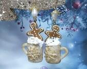 Christmas Ginger man earrings, Festive earrings, Gingerbread Earrings, Winter earrings , Food earrings, Christmas jewellery, Christmas gift