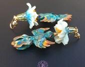 Hummingbird in flower earrings,  Birds earrings, Floral earrings, Exotic earrings, Summer bright earrings, Bird jewellery