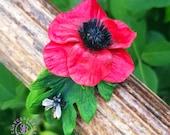 Poppy bracelet, Poppy cuff, Poppy jewelry, Flower bracelet, Summer flower bracelet, Floral bracelet, Poppy gift, Polymer clay sunflower