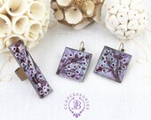 Spring cherry bloom earrings ring Japanese Sakura jewelry set Purple earrings Big advisable ring Spring jewelry Mother gift for her