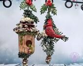 Christmas bird snowy Holly berries earrings, Cardinals bird, Christmas tree earrings, Winter bird house, Cones earrings,Christmas jewellery