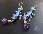 Lizard statement earrings, Gecko earrings, Lizard jewellery,  Lizard charms,  Lizard gift, Reptiles earring
