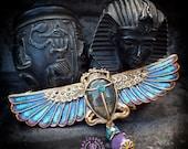 Egyptian Scarab pendant amulet, Cloisonne scarab necklace, Egyptian Ancient bug necklace, Sacred Mythology necklace, Symbol necklace
