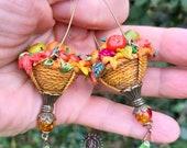 Autumn baskets statement earring, Thanksgiving gift, Autumn leaves earrings, Fall harvest earrings, Festive earrings, Autumn jewellery