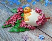 Easter egg gift chick flowers brooch, Easter decoration pin, Easter Festive accessories, Funny check brooch, Easter nature flowers jewelry
