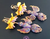 Hummingbird exotic earrings,  Birds earrings, Floral earrings, Nature earrings, Summer bright earrings, Bird jewellery