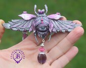 Scarab Evil eye pendant necklace Purple silver bug pendant Beetle charm Bug necklace Bug jewellery Insect pendant Mother gift for her