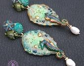 Seahorse and shells earrings, Seahorse charm, Seahorse gift,Green blue Long Dangle earrings, Nautical earrings, Summer beach Sea earrings