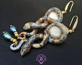 Pearl Snake statement earrings, Snake jewellery, Snake charms, Snake gift, Reptiles earring