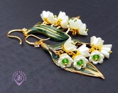 Lily of the valley Art Nouveau pearl earrings, Statement floral earrings, Vintage style earrings, Nature floral earrings, Spring earrings