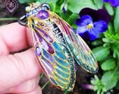 Cicada Amethyst brooch in Art Nouveau style, Cicada pin, Statement Insect brooch, Bug brooch, Beetle brooch, Nature brooch,Cicada gift charm
