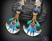 Egyptian Lotus flower statement earrings, Ancient Egyptian earrings, Sacred Mythology earrings, Symbol amulet earrings