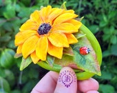 Sunflowers bracelet, Sunflower cuff, Sunflower jewelry, Flower bracelet, Summer flower bracelet, Floral bracelet, Polymer clay sunflower