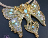 Luna Moth necklace in Art Nouveau style, Statement butterfly gemstones necklace, Butterfly charm