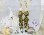 Fish earrings Green Pearl earrings Long Dangle earrings Art Nouveau earrings Vintage earrings Nautical Sea earrings Mother gift for her