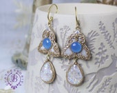 Birthstone Vintage earrings Russian Empire earrings Art Nouveau earrings Gemstone earrings Ethnic earrings Opal earrings Mother gift for her