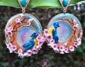 Spring Cherry blossom Art Nouveau earrings, Birds earrings, Flowers earrings, Statement Turquoise earrings, Mother day gift for her