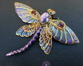 Dragonfly brooch, Dragonfly pin, Insect brooch, Dragonfly charm, Dragonfly jewelry, Dragonfly gift for her