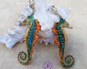 Summer Seahorse earrings, Nautical nature earrings, Ocean earrings, Seahorse charm, Seahorse gift