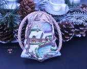 Winter Nature Statement pendant Art jewellery Wearable art  Boho jewellery Polymer clay jewellery